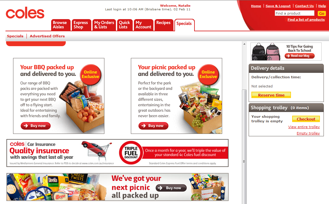 Coles online grocery shopping
